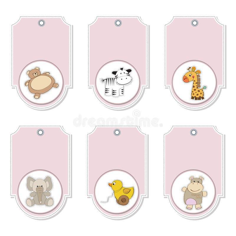 zwierząt kreskówki etykietek różowy set ilustracja wektor