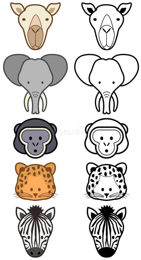 zwierząt kreskówki setu wektoru dziki zoo royalty ilustracja