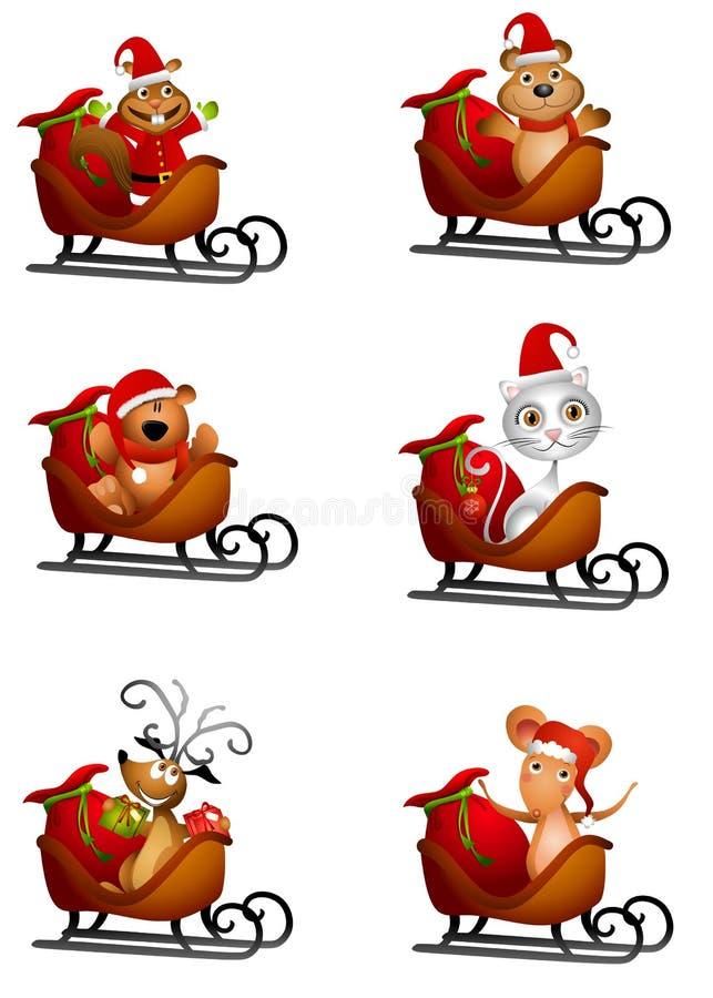 zwierząt Santa sania ilustracja wektor