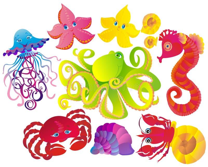 zwierząt wiele różni morze wektor ilustracji