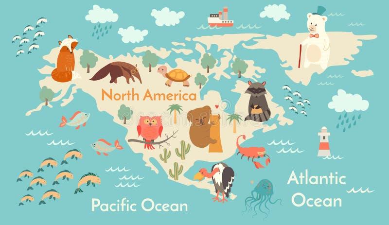 Zwierzę światowa mapa, Północna Ameryka ilustracja wektor
