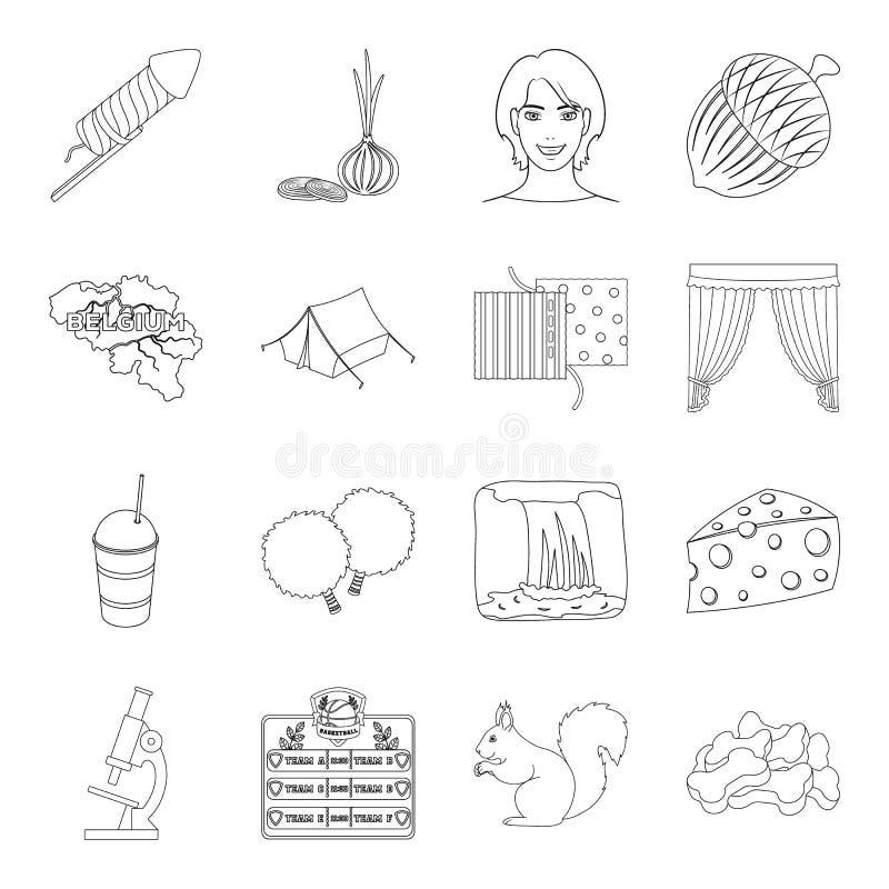 Zwierzę, atelier, medycyna i inna sieci ikona w konturze, projektujemy jedzenie, sport, natur ikony w ustalonej kolekci royalty ilustracja