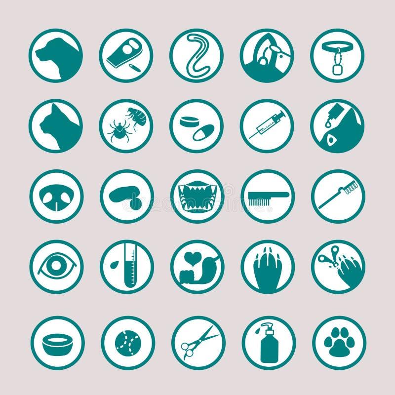 Zwierzę domowe ikony medyczny set royalty ilustracja
