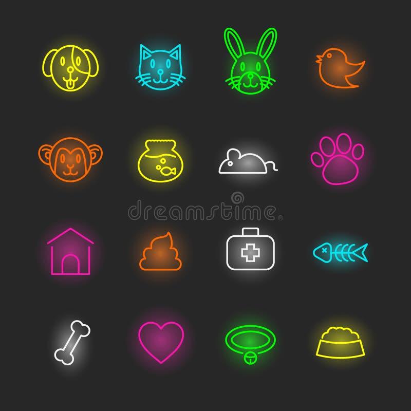 Zwierzę domowe ikony neonowy set ilustracji