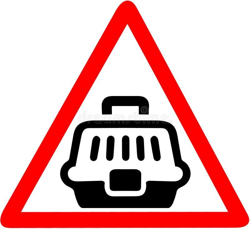 Zwierzę domowe niesie skrzynka drogowego znaka ostrzegawczego czerwonego trójgraniastego symbol ilustracji