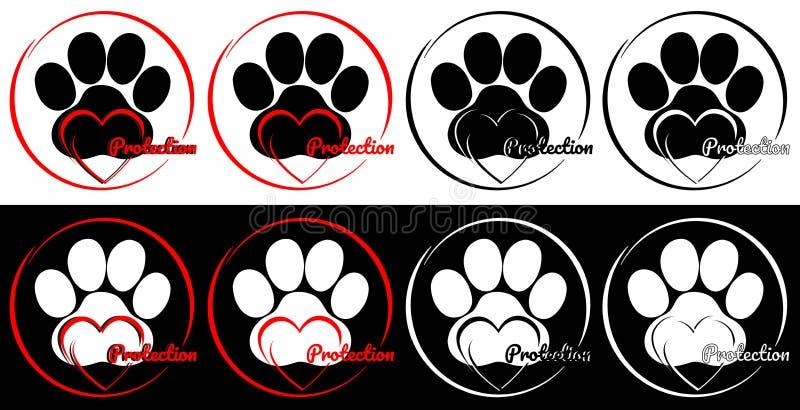 Zwierzę domowe ochrony logo dla dobroczynnych organizacji ilustracja wektor