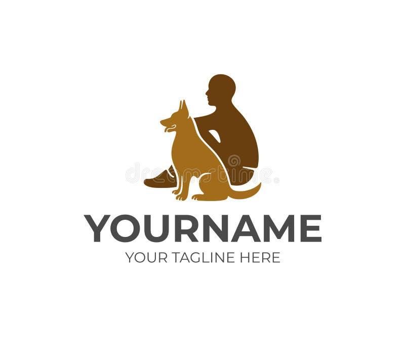 Zwierzę domowe opieka, mężczyzna i pies, logo projekt Zwierzę, zwierzęcia domowego schronienie i klinika, wektorowy projekt royalty ilustracja
