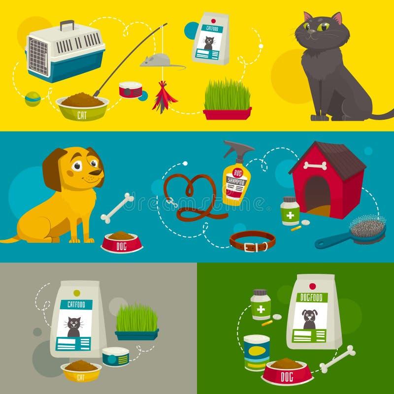 Zwierzę domowe opieki przedmiota składy, wektorowa kreskówki ilustracja, kota psi jedzenie i materiał, royalty ilustracja