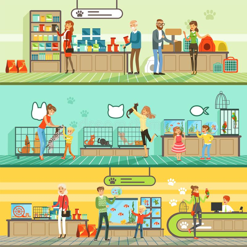 Zwierzę domowe sklepu horyzontalni sztandary ustawiający, ludzie kupuje zwierzęta domowe, akwarium ryba, jedzenie dla zwierząt, k royalty ilustracja