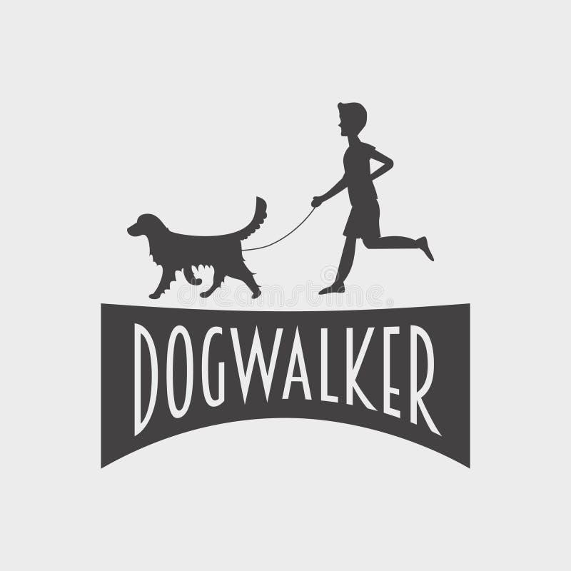 Zwierzę domowe sklepu lub sklepu logo, etykietki pojęcie Psia piechur sylwetka psi golden retriever, chłopiec i młody człowiek royalty ilustracja