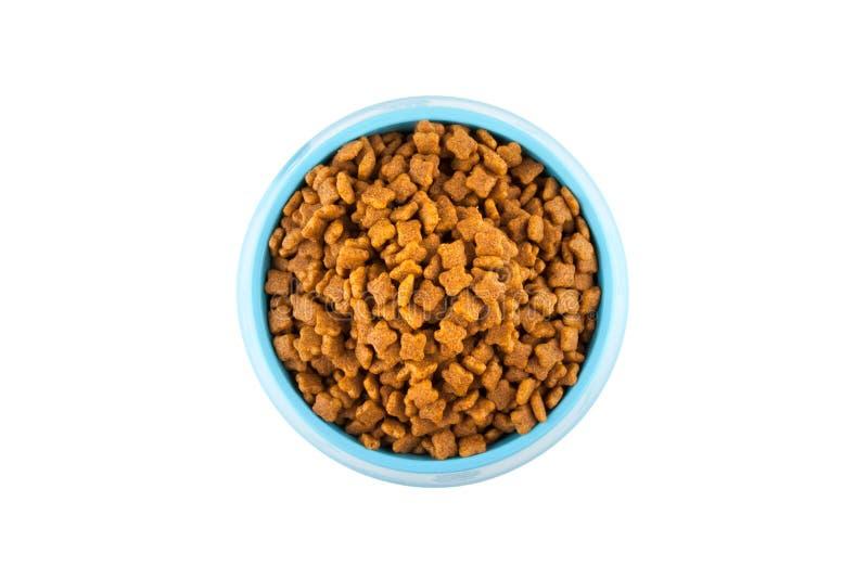 Zwierzę domowe suszący jedzenie w cyan plastikowym pucharze fotografia stock