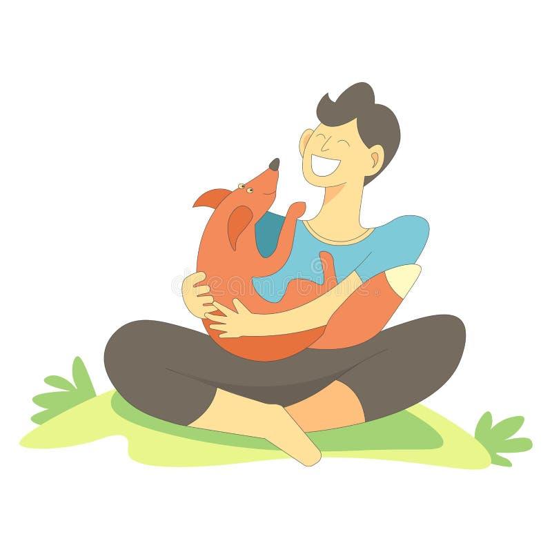 Zwierzę domowe z właściciel samiec cuddling z lisa wektorem ilustracja wektor