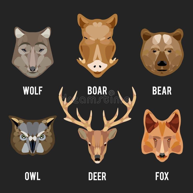 Zwierzę głów płaskie ikony ustawiać ilustracja wektor