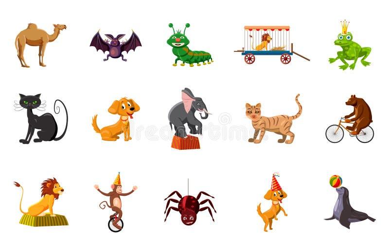 Zwierzę ikony set, kreskówka styl royalty ilustracja