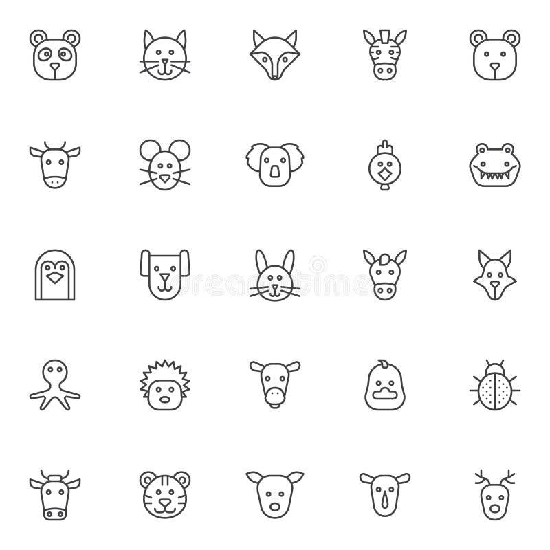 Zwierzę konturu ikony ustawiać ilustracja wektor