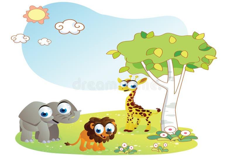 Zwierzę kreskówka z ogrodowym tłem ilustracja wektor