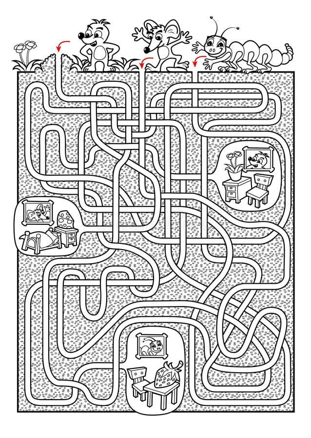 Zwierzę labirynt dla dzieciaków w czarny i biały royalty ilustracja