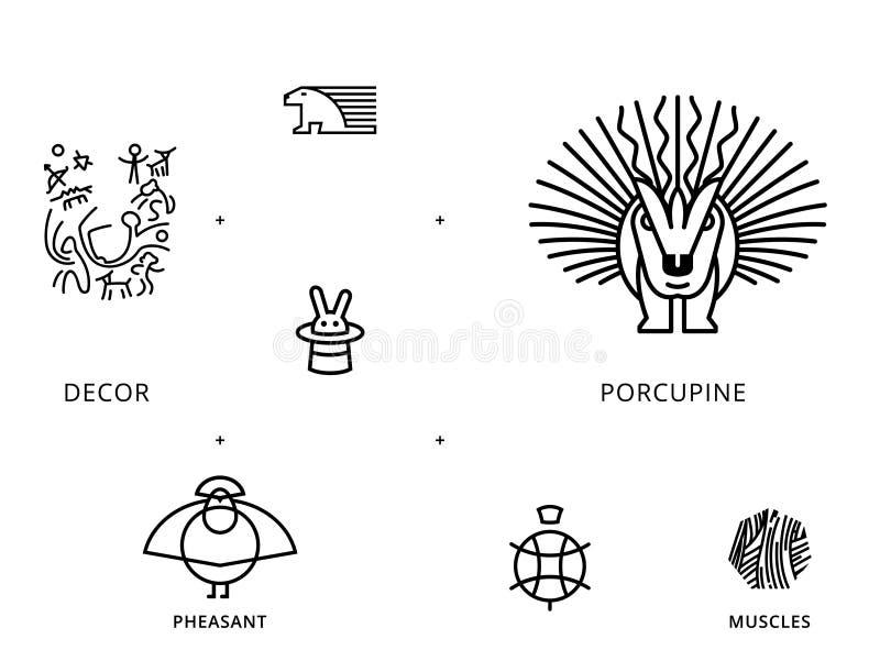 Zwierzę liniowi symbole z żółwiem, jeżatka ilustracji