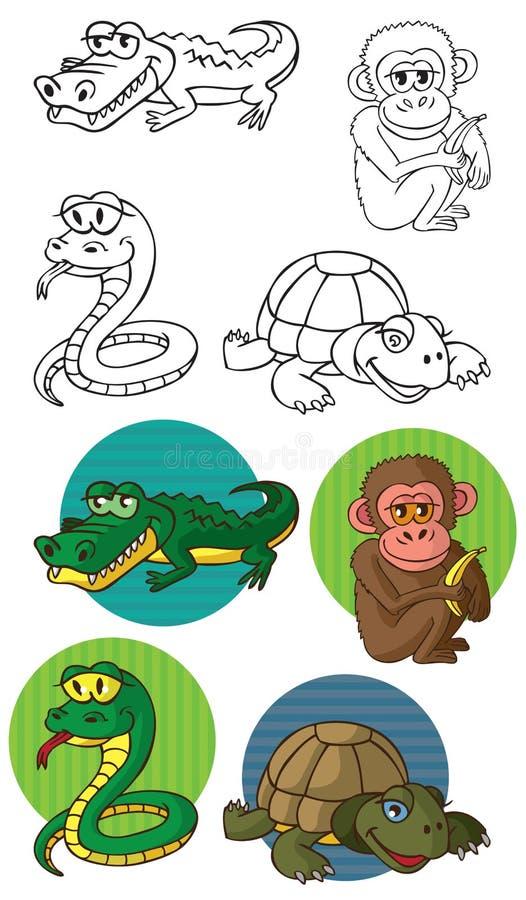 Zwierzę małpa i gady ilustracji