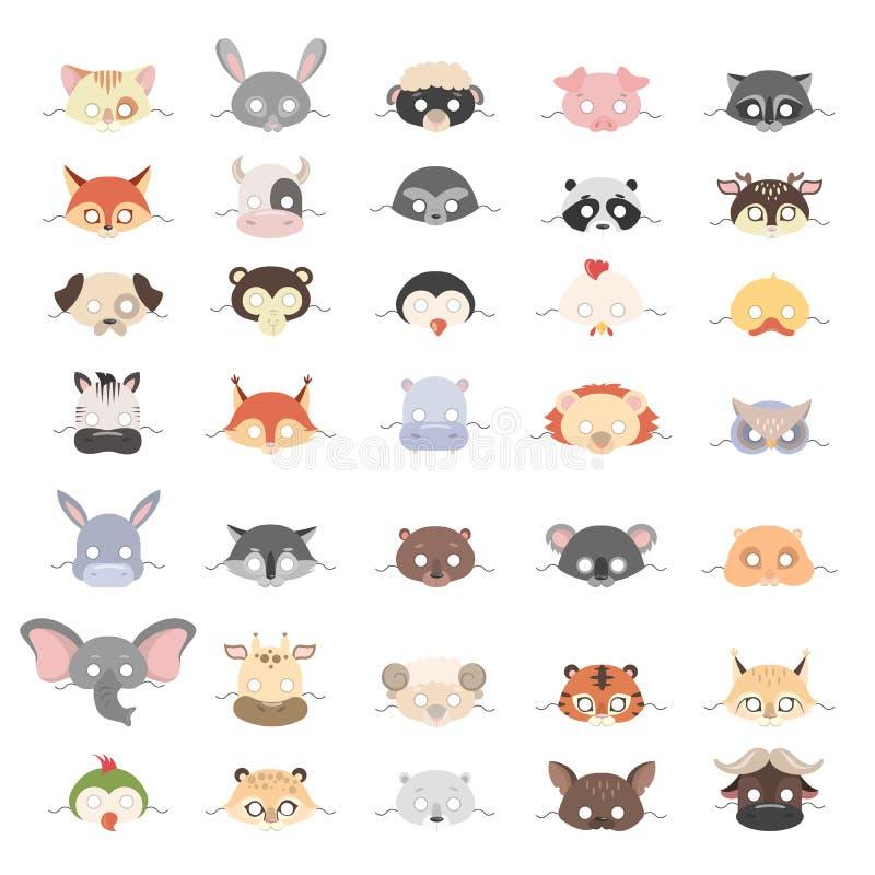 Zwierzę maski ustawiać ilustracja wektor