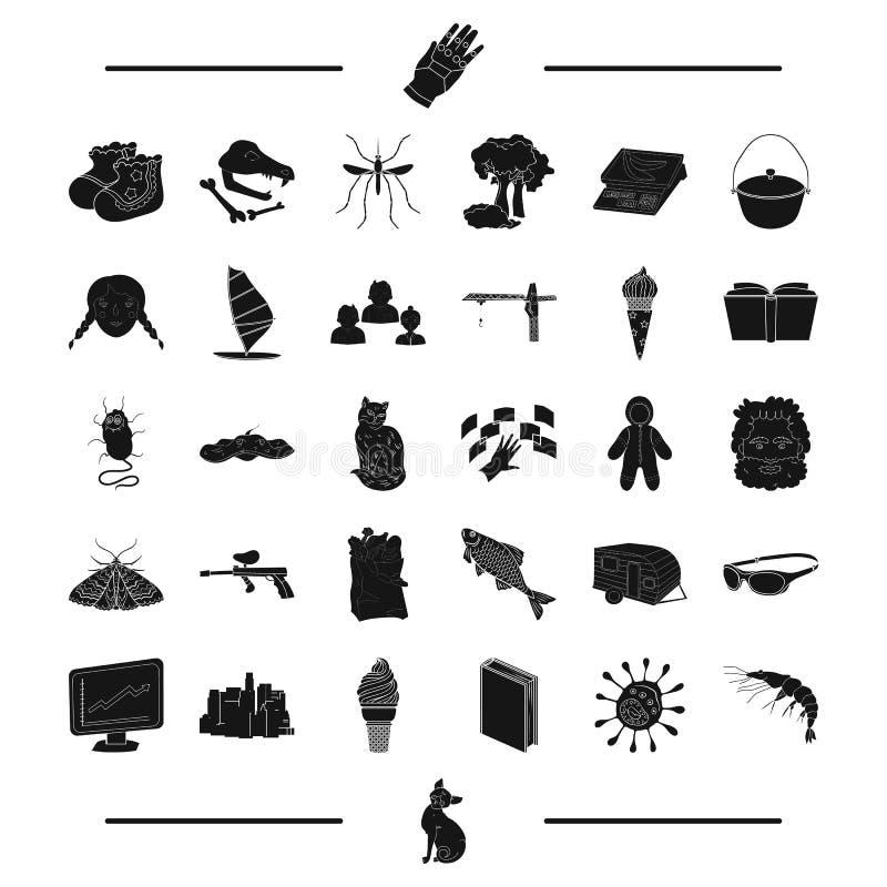 Zwierzę, paintball, insekt i inna sieci ikona w czerni, projektujemy budynku odtwarzanie, podróż, edukacj ikony w secie ilustracja wektor
