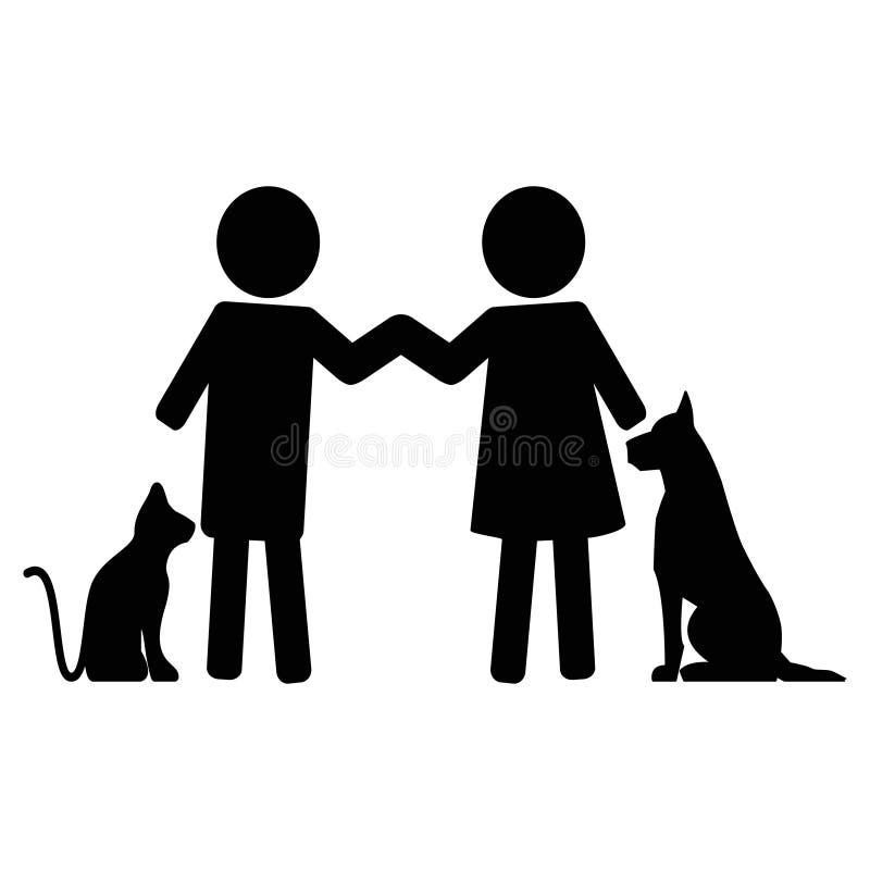 Zwierzę pomoc Mężczyzna miłości zwierzęta domowe ilustracji