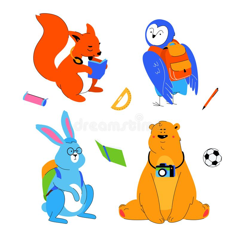 Zwierzę ucznie - płaski projekta stylu set postacie z kreskówki ilustracja wektor