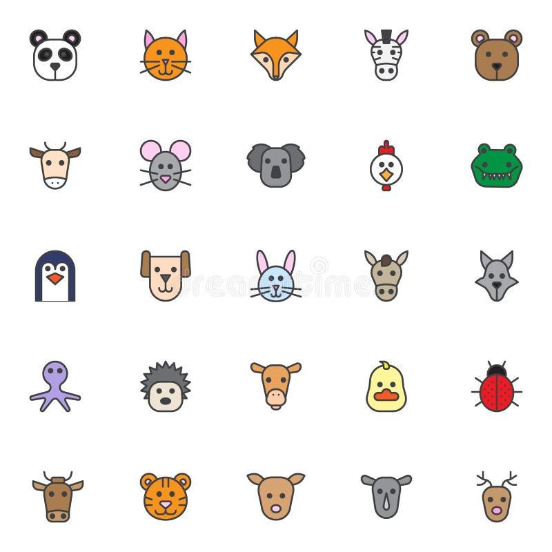 Zwierzę wypełniać kontur ikony ustawiać royalty ilustracja