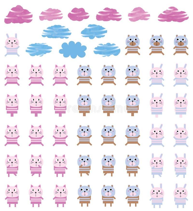 Zwierzę zabawki lampasa kota niedźwiedzia królika set ilustracja wektor