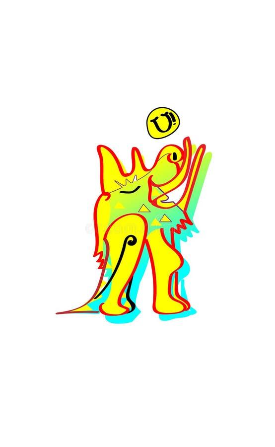 Zwierzęca emocja kreskówki dowódcy pistolet żołnierza jego ilustracyjny stopwatch Wyć księżyc koloru żółtego ziemi psa Etniczny p ilustracja wektor