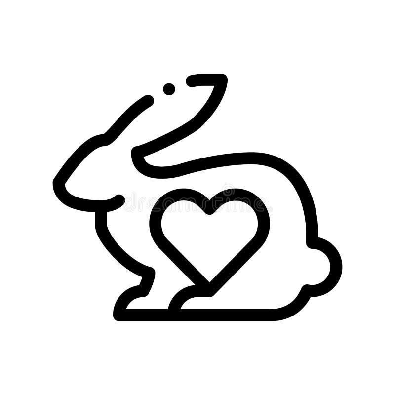 Zwierzęca królika I serca wektoru Cienka Kreskowa ikona ilustracji