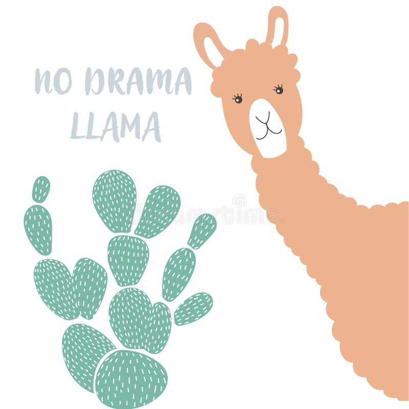 Zwierzęca lama z zielonym kaktusem Wektorowa ilustracja w prostym stylu ilustracji