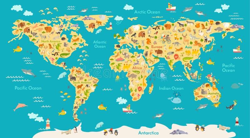 Zwierzęca mapa dla dzieciaka Światowy wektorowy plakat dla dzieci, śliczny obrazkowy ilustracji