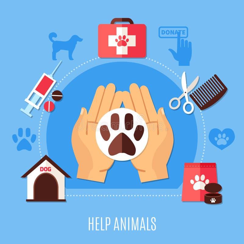Zwierzęca ochrona Zgłaszać się na ochotnika skład ilustracja wektor