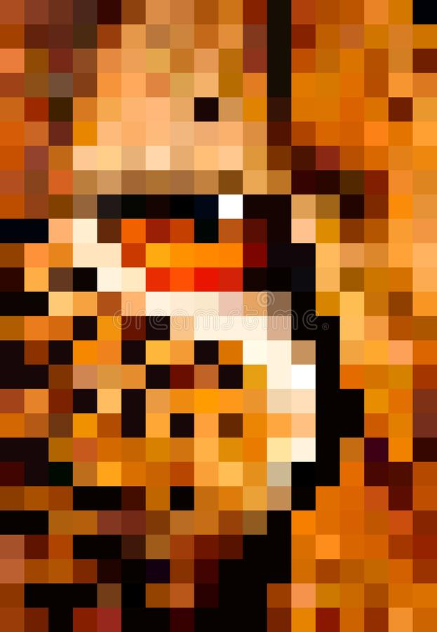 Zwierzęca piksel sztuka Oko lamparta piksla ilustracja ilustracji