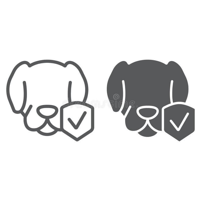 Zwierzęca ubezpieczenie linia, glif ikona, ochrona i zwierzęta domowe, psi gacenie znak, wektorowe grafika, liniowy wzór na a ilustracji