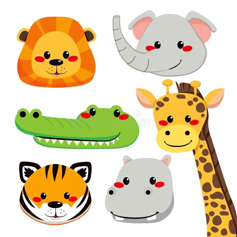 zwierzęce śliczne twarze ilustracji