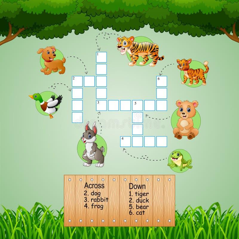 Zwierzęce crossword łamigłówki dla dzieciak gier royalty ilustracja