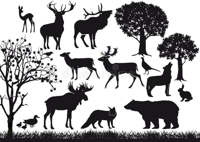 Zwierzęce i drzewne sylwetki royalty ilustracja