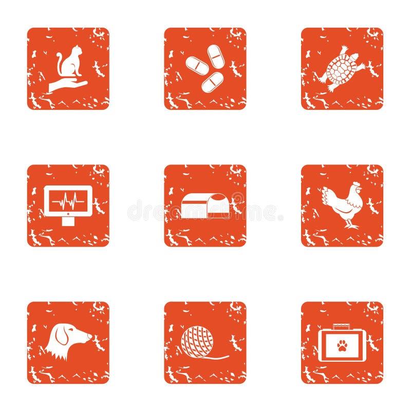 Zwierzęce inspektorskie ikony ustawiać, grunge styl ilustracji
