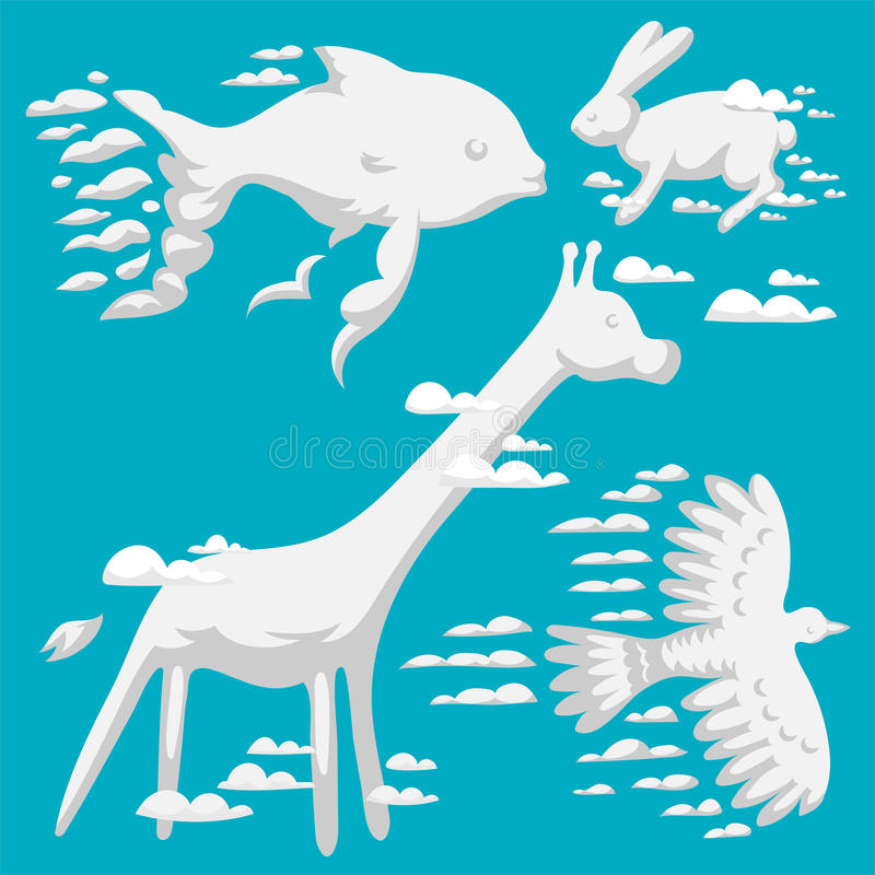 Zwierzęcego chmury sylwetki wzoru nieba kreskówki wektorowego ilustracyjnego abstrakcjonistycznego środowiska dziczki bestii natu ilustracja wektor