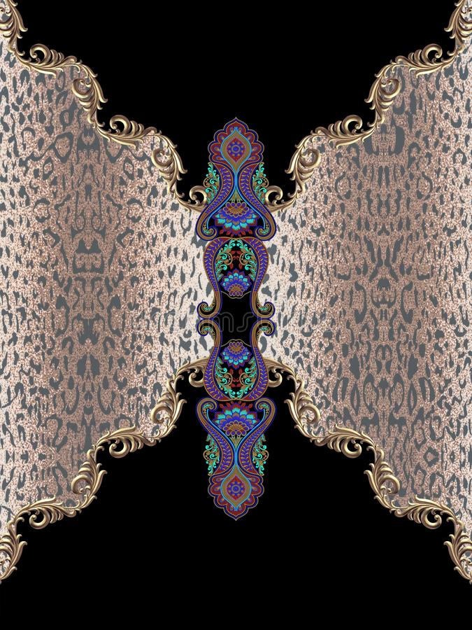 Zwierzęcego druku czerni geometryczny hafciarski barok fotografia stock