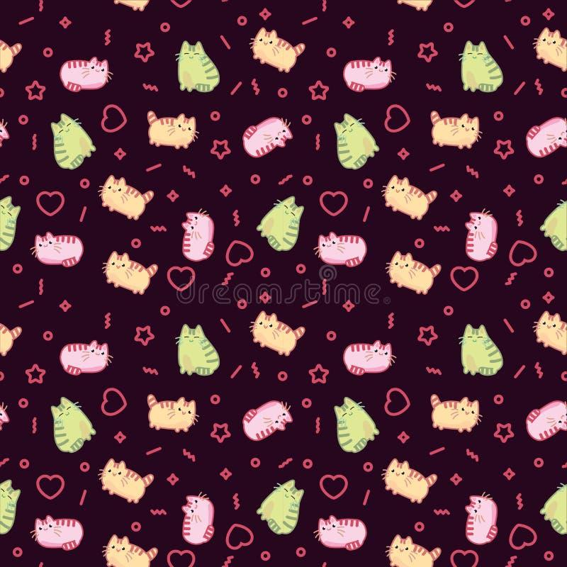 Zwierzęcego druku wzoru kawaii stylu śliczny kot, figlarka, kiciunia na ciemnym tle royalty ilustracja