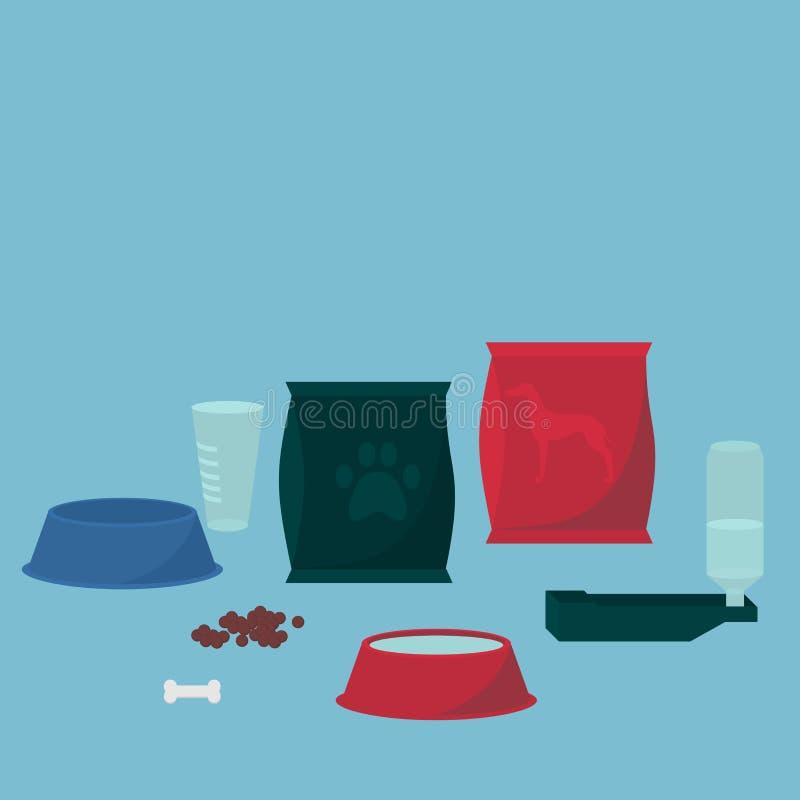 Zwierzęcego karmienia ikony Paczka psi jedzenie, isoleted zwierzę domowe puchar, posiłku talerz Szczeniak karmy funda, doggy diet ilustracja wektor
