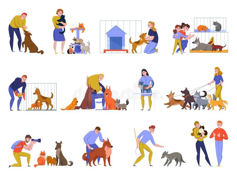 Zwierzęcego schronienia ludzie Ustawiający ilustracji