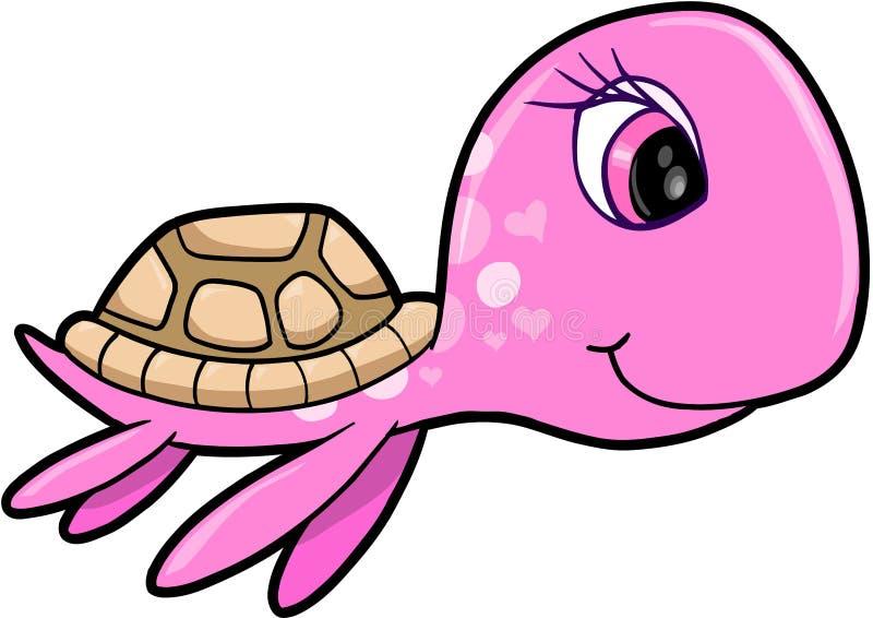 zwierzęcej dziewczyny denny lato żółwia wektor royalty ilustracja