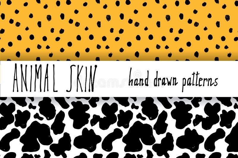 Zwierzęcej skóry ręka rysująca tekstura, Wektorowy bezszwowy wzoru set, nakreślenie rysunku leapard kropki i krowy skóry tekstury ilustracja wektor