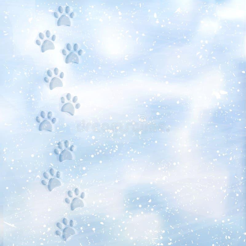 Zwierzęcej stopy druki śnieżny Ślada w śniegu Psi odciski stopy w śniegu Tekstura śnieg powierzchnia wektor ilustracji
