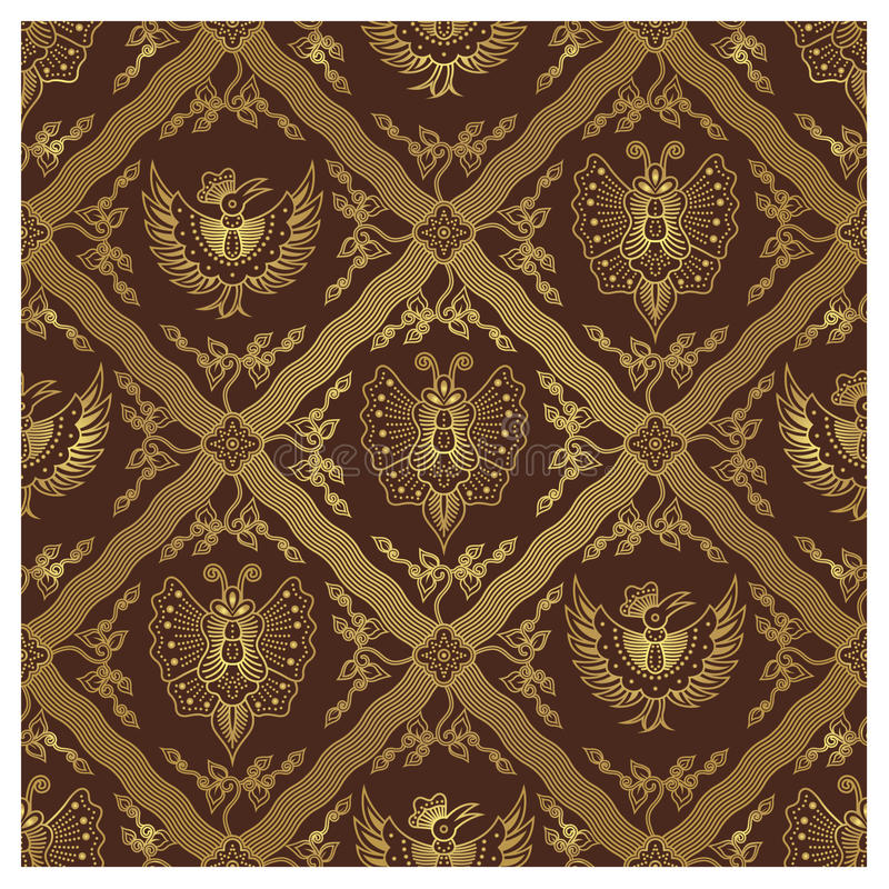 zwierzęcia batikowy javanese wzór bezszwowy ilustracja wektor