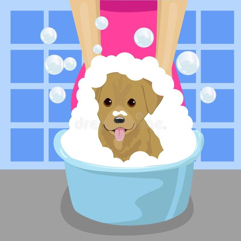 Zwierzęcia domowego groomer domycia pies z mydło pianą w błękitnej miednicie w łazience ilustracja wektor